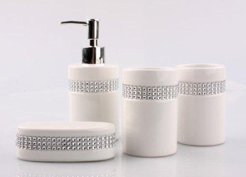 Justnile 4 piece bathroom accessory set elegant ceramic for Striped bathroom accessories sets