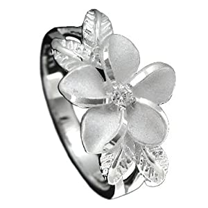 925 Silver Plumeria w/ Maile Leaf Ring Hawaiian Jewelry