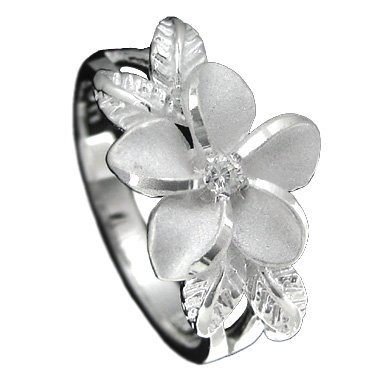 925 Silver Plumeria w/ Maile Leaf Ring Size 5.5