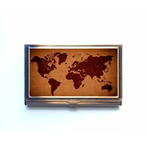 Home Decor Personalized Art Print World Map Fuuny Printed Business Name Card Holder Stainless Steel Case