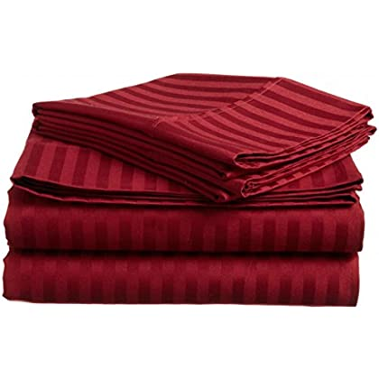 Burgundy Stripe Egyptian Cotton 300TC Gokul Linen Twin 39X75 Inch Size Bed Sheet Set 6PCs Pocket Depth 21 Inch Drop deal 2015