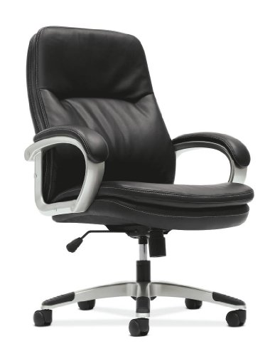 HON VL404 Managerial Mid-Back Chair with Loop Arms for Office or Computer Desk, Black