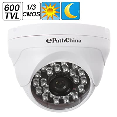 ePathChina® Dome 700TVL 1/3 Inch CMOS CCD CCTV Surveillance Camera,Plastic High Resolution & High Definition and Stability Color Security Camera, 3.6mm Fixed Lens, with IR LED Supports Night Vision Infrared to 60 Feet, White Dome Day&Night IR LEDs CCTV Su