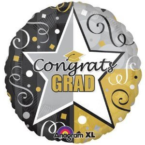 """Congrats Grad"" Star Streamers 32"" Balloon Mylar - 1"