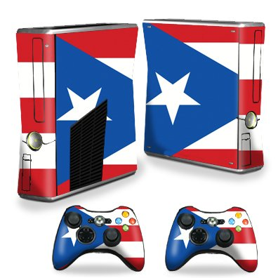 Protective Vinyl Skin Decal Cover for Microsoft Xbox 360 S Slim + 2 Controller Skins Sticker Skins PuertoRican Flag
