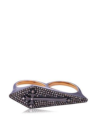 Socheec Stylish Double-Finger Diamond Cross Ring