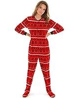 Womens Footed Pajamas Red Onesie MicroFleece Penguins Snowflakes Heart Print Pj