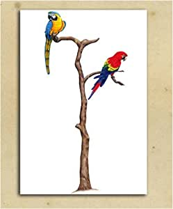 Amazon.com - Parrots & Stand - Tatouage Rub-On Wall Transfer