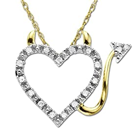 Amazon.com: 14k Gold Heart and Devil Diamond Pendant (.04 ct): Jewelry from amazon.com