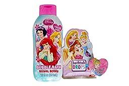 Disney Princess Bath Time Bubble Bath Bundle with Disney Princess Royal Berry Bubble Bath, Disney Princess Water Color Changing Drops and Disney Princess Heart Shaped Expanding Wash Cloth (3 Items)