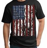 American Flag Mens T-shirt United States USA Tattered Flag Black Tee