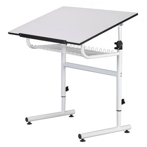 Martin Universal Design White Gallery Drafting Art-Hobby / Creative Table With Storage Shelf Martin