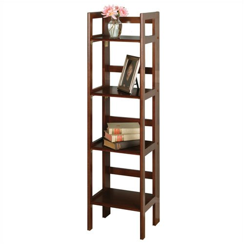 Winsome 94852 - Basics 51 H Antique Walnut Folding Four Tier Bookshelf
