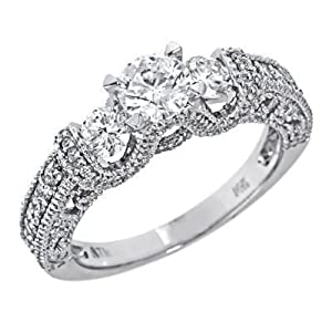 14k White Gold 3 Three Stone Round Brilliant Cut Diamond Engagement Ring Vintage Style (1.70 Carats, VS- Clarity, F Color) from ATR Jewelry