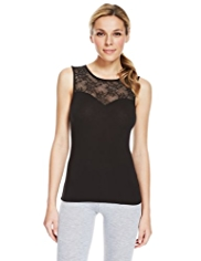 Heatgen™ Floral Lace Yoke Thermal Vest