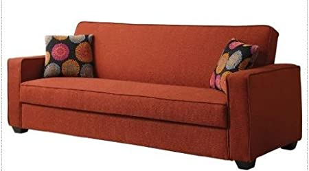 Shani collection red linen fabric upholstery convertible sofa with storage underneath seat
