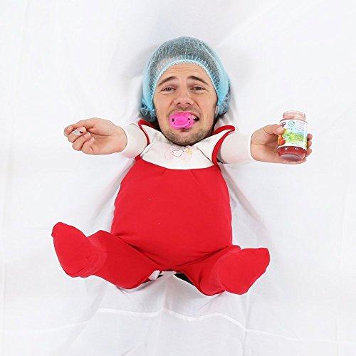 Partyspiel Baby füttern ++ Komplettes Set mit Laken + aufgenähtem Strampler + Schnuller + Babywaschlappen + Armstulpen + Babyhäubchen + Zahnbürste ++ Lustiger Sketch und tolles Partyspiel