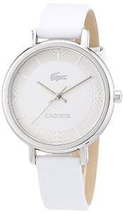 Lacoste - 2000716 - Everyday Essentials - Montre Femme - Quartz Analogique - Cadran Argent - Bracelet Cuir Blanc