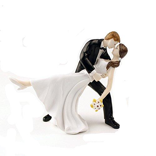Homanda® A Romantic Dip Dancing Bride and Groom Couple Figurine Wedding Decoration Cake Topper