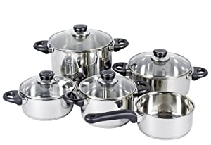 Kruger 10 Piece 18 /10 Stainless Steel Heat Induction Cookware Set