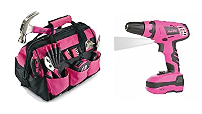 Best Power Drill & Tool Set Bundle PLUS For Automotive & Home Improvement | 30 Piece Pink Tool Kit w Bag | Guaranteed | 18 Volt Cordless Driver | Top Rated - #1 Seller | For Professional Projects