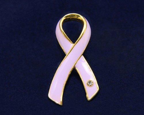 Lavender Ribbon Pin- Large Ribbon with Crystal (36 Pins)