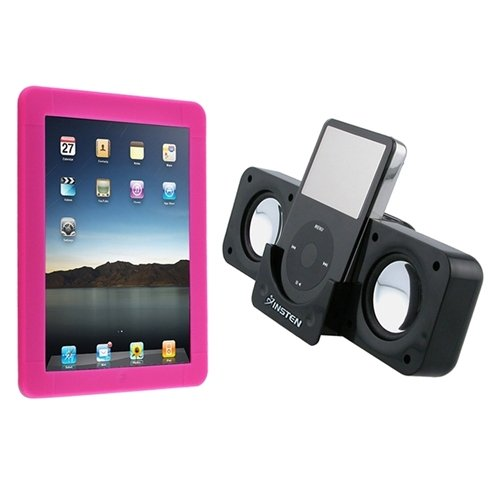 Hot Pink Silicone Skin + Black Foldable Multimedia Speaker Compatible With Apple® iPad® 16Gb / 32Gb / 64Gb