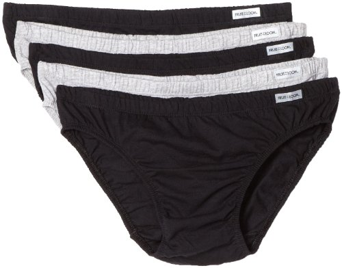 Fruit of the Loom 5 Pack Bikini Briefs Black Gray Large man panties