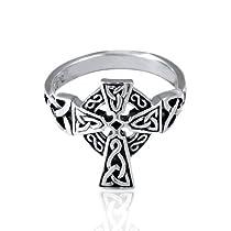 Brightt Sideways Cz Cross .925 Sterling Silver Ring Sizes 4-12