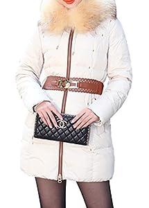 BORUIDESI Women's Retro Style Fur Trim Hooded Mid Lenth Down Coat Zip Parka-Beige-M