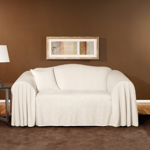 Buy Low Price Sure Fit Plush Animal Loveseat Throw in Snow (159011117M)