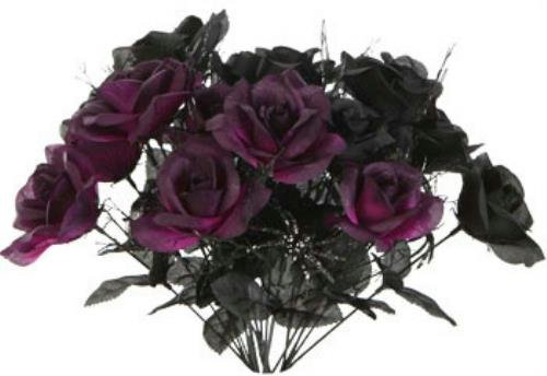 1 Black & 1 Purple Rose Bush Bouquet Floral Halloween 6 Stem 14″ each