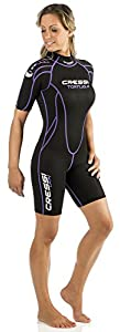 Cressi Women's 2.5mm Tortuga Wetsuit, Black/Lilac, Size 1/X-Small