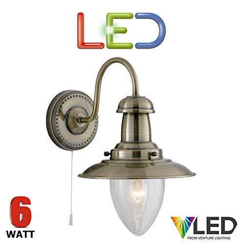 STS-Pêcheur LED Applique Murale avec interrupteur laiton antique-5.9W LED à économie d'énergie Lampe Lampe murale inclus-Col de cygne Bras-5331-1AB-Seeded LED en verre Transparent-Excellente qualité