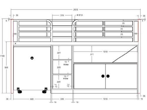 Vipack BOHS9144 Bonny Lit Compact Fuchsia 207,2 x 97,5 x 119 cm