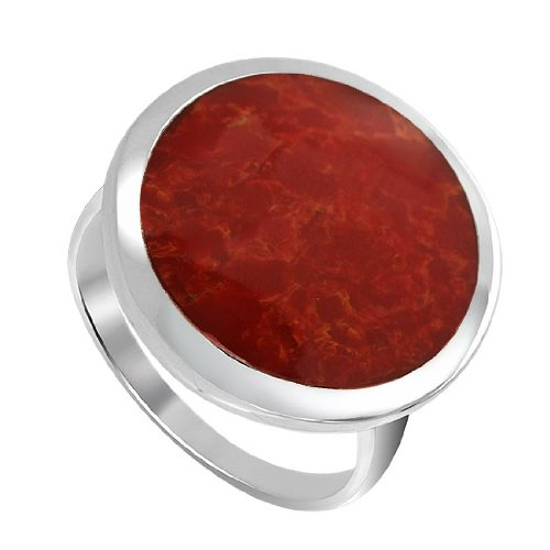 Sterling Silver 17mm Round simulated coral Button Design Ring