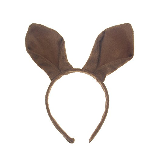 Pagreberya Brown Bunny Ears Headband Handmade Plush Party Accessory and Costume