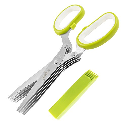 Jenaluca Herb Scissors Stainless Steel - Multipurpose Kitchen Shear with 5 Blades and Cover with Cleaning Comb