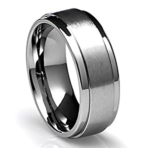 8MM Men's Titanium Ring Wedding Band with Flat Brushed Top and Polished Finish Edges [Size 7.5] from Cavalier Jewelers