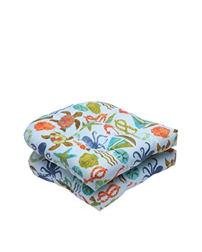 Pillow Perfect Set of 2 Indoor/Outdoor Seapoint Summer Wicker Seat Cushions, Blue