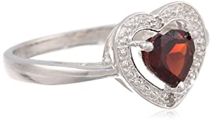 Sterling Silver, Garnet and Diamond Heart Ring (0.01 Cttw, H-I Color, I3 Clarity), Size 6