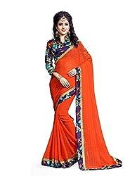 Shree laxmi creations women,s Orange colour Chiffone saree