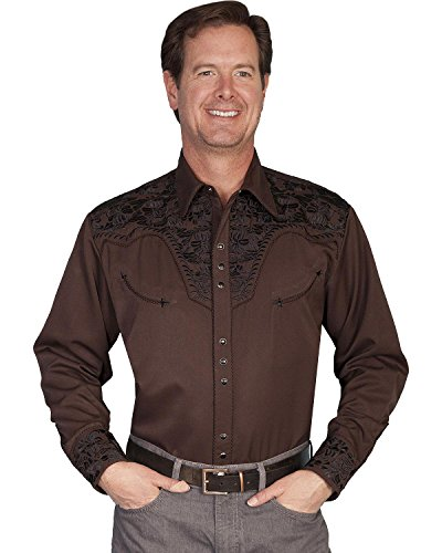scully-mens-floral-embroidered-western-shirt-chocolate-x-large