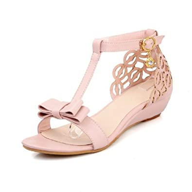 Amazon.com: Carol Shoes Fashion Bows Womens Low Heel Open Toe Sandals