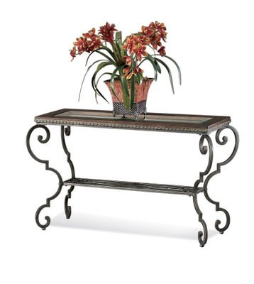 Image of Bassett Mirror T1170-400 Giordino Console Sofa Table, Pewter (T1170-400)