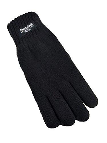 Ragazzi Thinsulate 3M 40 grammi di isolamento termico guanti sottili in maglia invernali (10-11 anni, Nero)