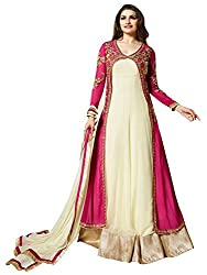 VH Fashion Pink and Cream Georgette Koti Style Anarkali Dress Material