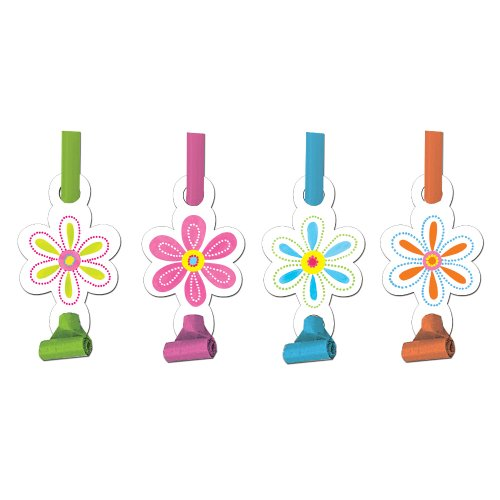Creative Converting Pink Flower Cheer 8 Count Blow Out Noise Maker