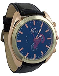 Addic EWWE Gold Bezel With Dark Blue Dial And Black Leather Strap Watch For Men (71)