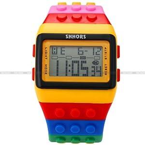 SHHORS Reloj Digital unisex, correa de silicona, multicolor, con LED, deportivo LED091 por AMPM24